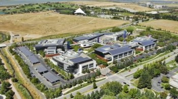 Solar panels on Google headquarters in California
