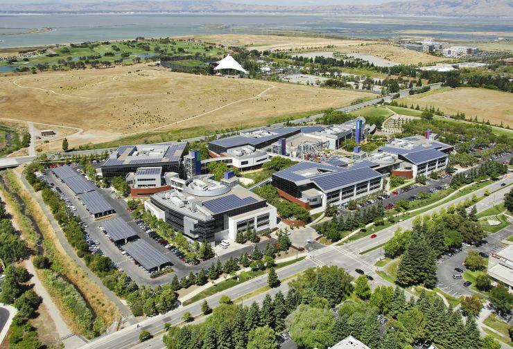 Solar panels on Google headquarters in California